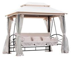 3 person patio daybed canopy gazebo swing cream w mesh walls