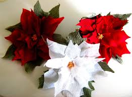 8 large paper flowers poinsettia red white party christmas