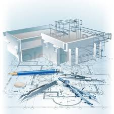 architectural building plans architectural background with a 3d building model part of