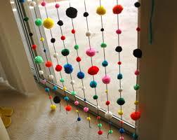 Curtains With Pom Poms Decor Pom Pom Window Covering For A Classroom Window Craft Ideas