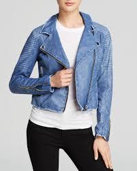 blue motorcycle jacket blank jacket faux leather moto in blue lyst