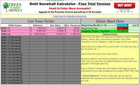 Debt Payoff Spreadsheet Excel Free Debt Snowball Calculator Program Trees Of