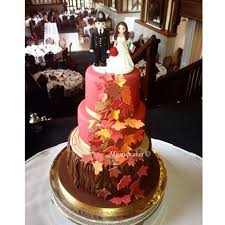 3 tiered autumn themed wedding cake the venue was absolutely