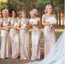 fashion scoop sequined long backless gold bridesmaid dress with