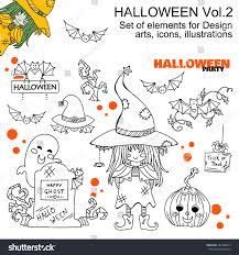 kawaii halloween transparent background vector set halloween illustrations set cute stock vector 487200673