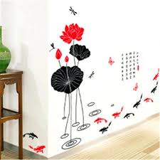 articles with chinese wall art uk tag chinese wall decor chinese 2016 creative diy home decor wall sticker chinese lotus fish wall stickers for living room study