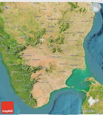 India Physical Map by Satellite 3d Map Of Tamil Nadu