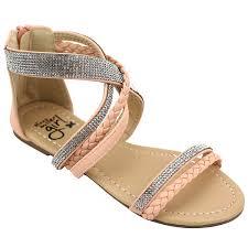 olivia miller girls u0027 omg pink strappy rhinestone gladiator sandals