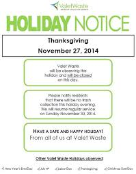 read the valet waste notice for the thanksgiving