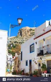 Mediterranean Houses by Typical Street With Whitewashed Mediterranean Houses Alicante Old