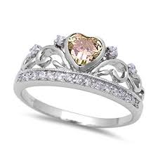 diamond king rings images King queen crown heart promise ring champagne amber cz jpg