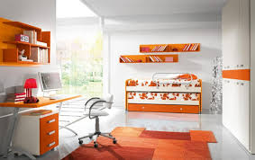 what color goes with orange walls bedroom kids orange bedrooms with bunk bed and bookshelves idea