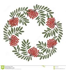 rowan branch with berries frame for your design stock vector