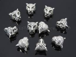solid silver bracelet charms images Solid metal leopard head bracelet connector charm beads silver jpg