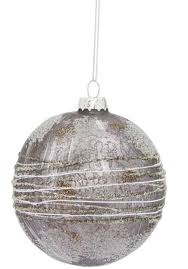 pack of 12 decorative glass silver and gray ornaments