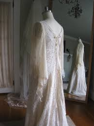 boho wedding dress plus size renaissance faery tale chagne lace wedding gown renn sleeve