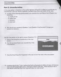 Their They Re There Worksheet Geology Help Unconformities Worksheet Please Igno Chegg Com