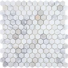 hexagon mosaic tile calacatta honed