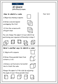 drawing 3d objects cubes mathematics skills online interactive