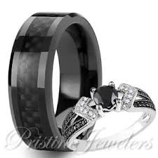 carbon fiber wedding rings his tungsten black carbon fiber 925 sterling silver wedding