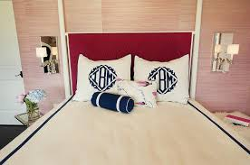fuchsia herringbone headboard contemporary bedroom