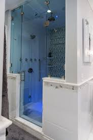 traditional master bathroom with glass shower door frameless