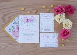 Mint Wedding Invitations Pink Peony Watercolor Wedding Invitation Bohemian Mint