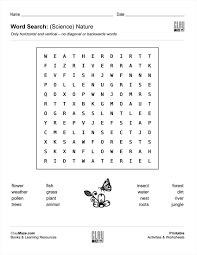 Free Word Search Worksheets Word Search Science Nature Free Children U0027s Worksheets