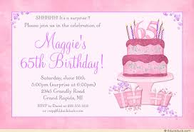 cake 65th birthday invitation surprise soft pastel pink