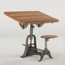 Drafting Table Stools by French Vintage Industrial Architect Drafting Table With Attached