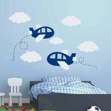 diy kids room airplane wall decals plane clouds decal art vinyl