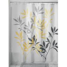 Gray And Yellow Bathroom by Amazon Com Interdesign Leaves Shower Curtain Gray And Yellow 72