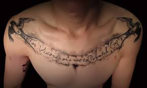 chest writing tattoo art and designs
