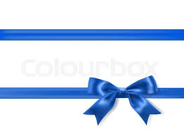 royal blue ribbon royal blue silky bow and ribbon border on white background vector
