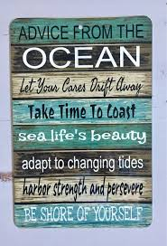 beach signs home decor ocean advice metal sign beach decor home decor boating