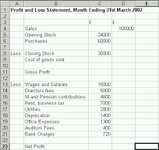 Excel Profit And Loss Template Introduction To Excel Part 2 Basic Financial Statements