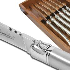 set of 6 prestige laguiole steak knives fully forged and sandblasted