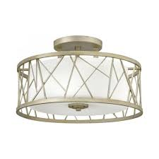 Low Ceiling Light Semi Flush Ceiling Light With Silver Leaf Drum Shade And Glass Inner
