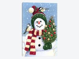 snowman holding christmas canvas art william vanderdasson