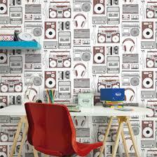 B Q Bedroom Wallpaper Kids Room Makeover Retro Music Wallpaper At B U0026q Hip Retro Kids