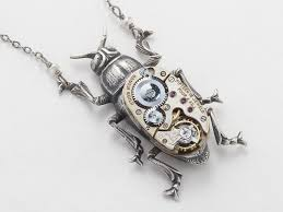 steampunk pendant necklace images Steampunk silver beetle necklace with a watch movement gears jpg