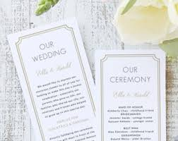 Flat Wedding Programs Flat Wedding Program Template Instant Download Ornate