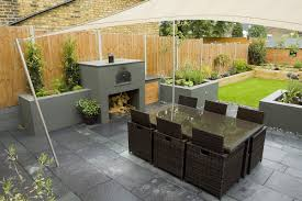 wimbledon family garden design with formal dining terrace and
