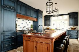 kitchen island navy blue distressed cabinets brown distressed