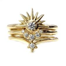 sun moon and stacking ring set sunburst with and