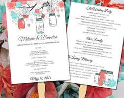 jar wedding programs jar wedding program fan template ceremony program coral reef