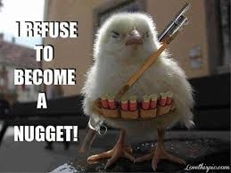Chicken Nugget Meme - i refuse to become a nugget funny chicken meme picture
