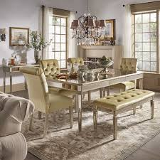 Mirrored Dining Room Furniture Clara Gold Velvet And Antique Gold Mirrored Dining Set By Inspire