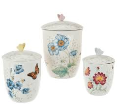 cookie jars canisters storage organization kitchen food lenox butterfly meadow porcelain 3 pc canister set h209002