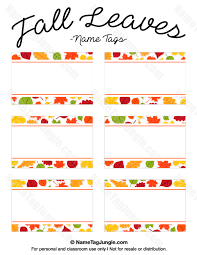 free printable fall leaves name tags the template can also be